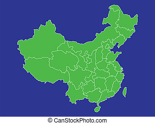 China Map 2 - A map of China showing its provinces in green...