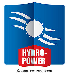 Hydropower concept with abstract sign and background