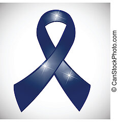Blue ribbon awareness symbol vector logo