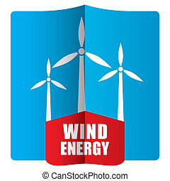 Wind power concept, template with abstract illustration