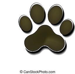 Paw print silhouette logo - Paw print icon background