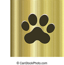 Paw print golden icon logo