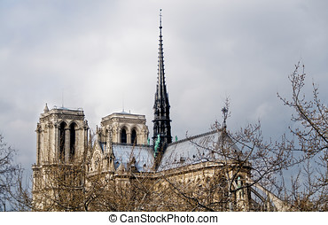 Notre-Dame Cathedral. Paris, France - Back view of...