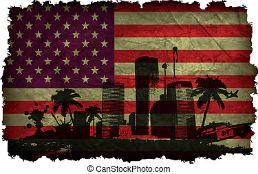 urban cities with large palm trees on an old American flag