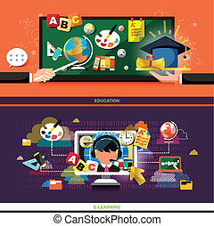 flat design concept for education and online learning, used...