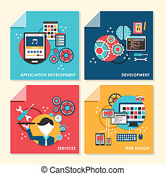 flat design concept illustration for web design and...