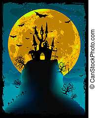 Scary halloween vector with magical abbey EPS 8 vector file...