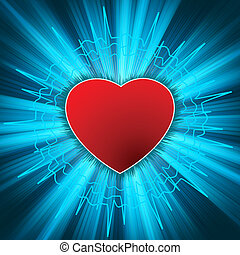 Glowing Heart with heartbeat. EPS 8