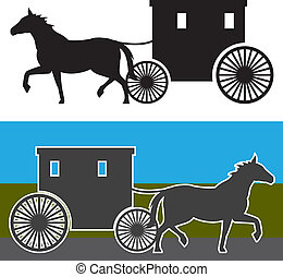 Amish Carriage - amish carriage illustration clip-art eps