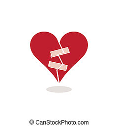 Broken Heart Fixed with Adhesive Tape Concept Illustration -...