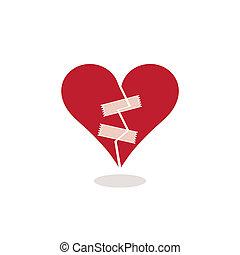 adesivo, conceito, Coração, Ilustração, quebrada, fita, fixo