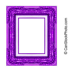 Vintage purple frame with blank space, with clipping path.
