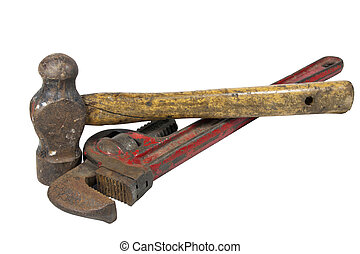 Rusty Monkey Wrench and Ball Peen Hammer - rusty monkey...