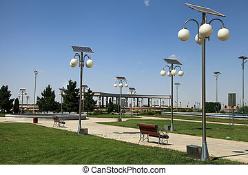 Alley in the park with a solar-powered lanterns. Ashkhabad....