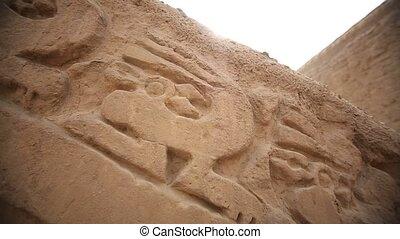Relief at the walls of the Huaca Esmeralda in Trujillo, Peru...