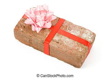 Prank gift - Red Brick Gift, Concept of joke, make fun of...