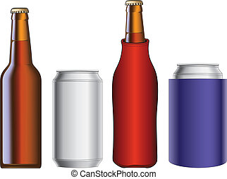 Beer Bottle and Can With Koozie - Illustration of a beer...