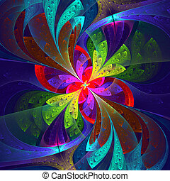 Multicolor beautiful fractal flower. Computer generated...