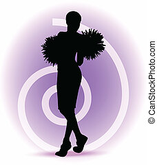 funky cheerleader silhouette - EPS 10 Vector illustration -...
