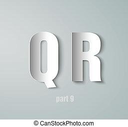 Vector Paper Graphic Alphabet font, white, concept