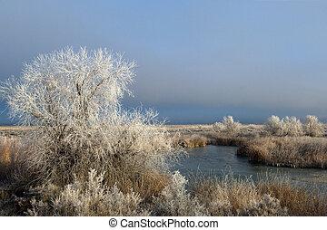 Rural Idaho - Winter river landscape in rural Idaho
