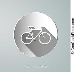 ベクトル, ペーパー, 自転車, アイコン