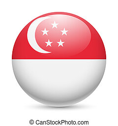 Round glossy icon of Singapore - Flag of Singapore as round...