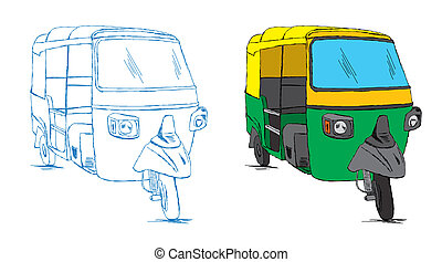 Indian Auto Rickshaw Sketch Vector - Indian Auto Rickshaw...