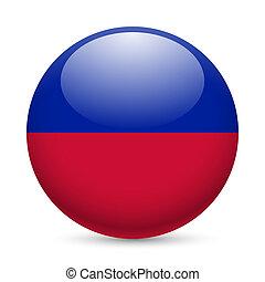 Round glossy icon of Haiti - Flag of Haiti as round glossy...