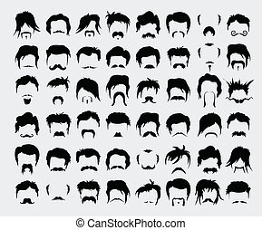 Vector set hair, mustache, beard men retro