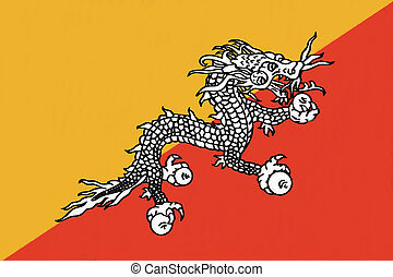 Bhutan flag drawing by pastel on charcoal paper
