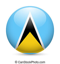 Round glossy icon of Saint Lucia - Flag of Saint Lucia as...