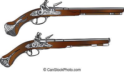 vector vintage pair of pistols - vintage pair of flintlock...