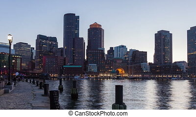 Night timelapse of Boston skyline - 4K Night timelapse of...