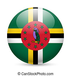 Round glossy icon of Dominica - Flag of Dominica as round...