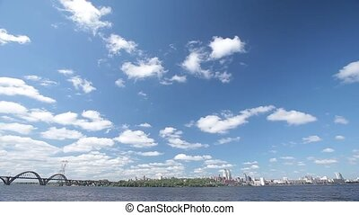 Dnepropetrovsk City with skyline over Dnipro River....