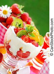 fruit dessert with cream