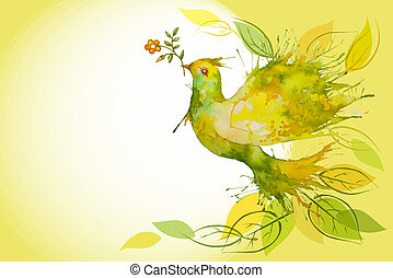 Flying Green Dove - horizontal background - Watercolor Green...