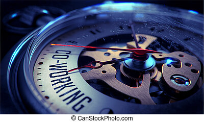 Co-Working on Pocket Watch Face. Time Concept. - Co-Working...