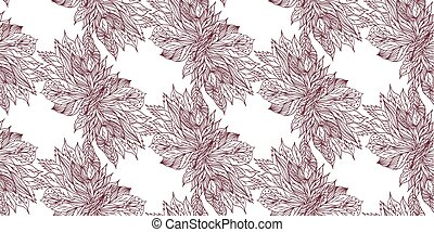 sketch of flowers on a light background. Seamless background