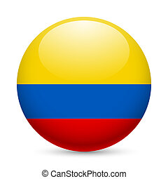 Round glossy icon of Colombia - Flag of Colombia as round...