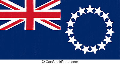 Cook Islands flag drawing by pastel on charcoal paper