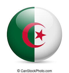 Round glossy icon of Algeria - Flag of Algeria as round...