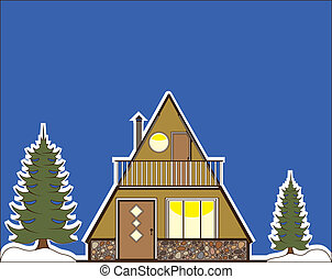 A Frame house - a frame house illustration clip-art eps