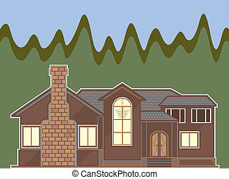 Fireplace house - fireplace house illustration clip-art eps