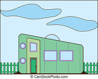 Trailer House - trailer house illustration clip-art eps...