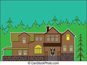 House in the woods - house in the woods illustration...