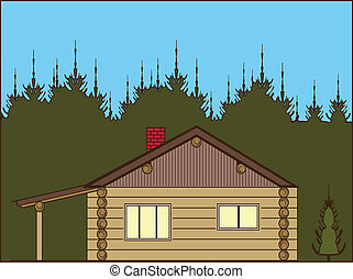 Log Cabin - log cabin illustration clip-art eps vector