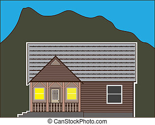 North House - small wooden house illustration clip-art eps