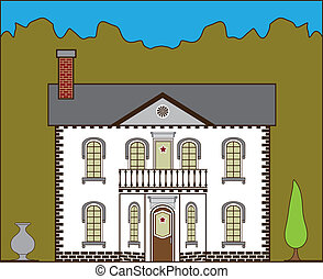 Suburban House - suburban house illustration clip-art eps